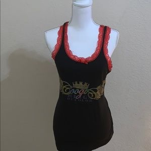 Coogi black with red lace tank top